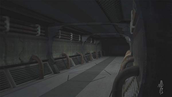 Matte Sci-fi corridor by Yondasable