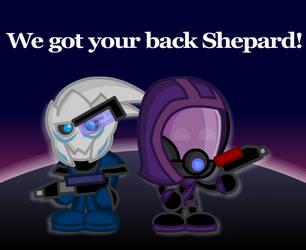 Mass Effect: Chibi Garrus and Tali by LegendaryFrog