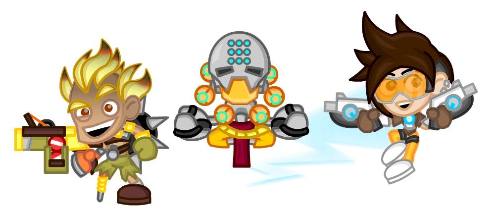 Overwatch Chibis: Junkrat, Zenyatta, Tracer by LegendaryFrog