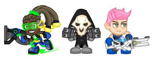 Overwatch Chibis:  Lucio, Reaper, and Zarya