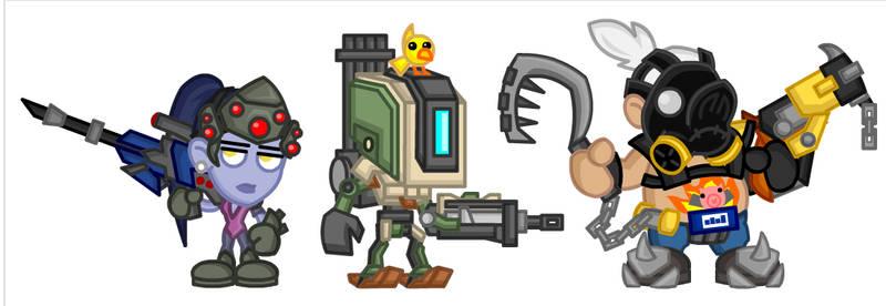 Overwatch Chibis: Widowmaker, Bastion, Roadhog