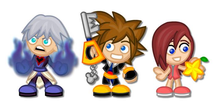 Kingdom Hearts Chibis:  Riku, Sora and Kairi
