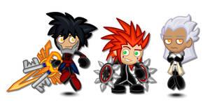 Kingdom Hearts Chibis: Vanitas, Axel, Ansem