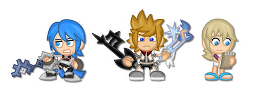 Kingdom Hearts Chibis: Aqua, Roxas, Namine by LegendaryFrog