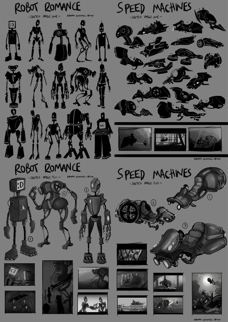 Robot Romance - Speed Machine Sketches by Spikings