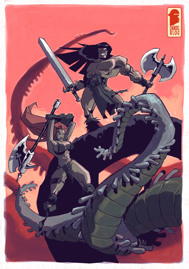 Red Sonja and Conan by nelsondaniel