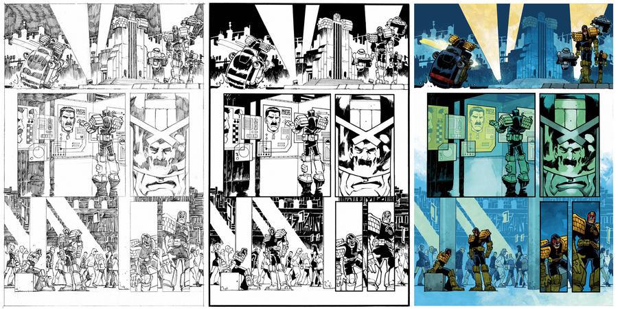 Judge Dredd #2 page 5 process by nelsondaniel