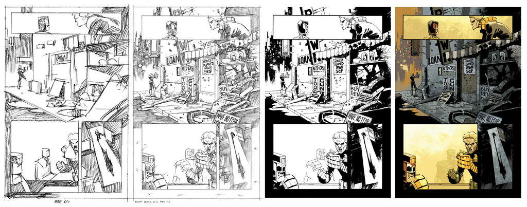 Judg Dredd #15 page 7 process by nelsondaniel