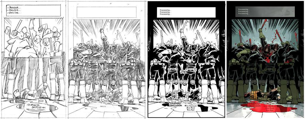 Judge Dredd #16 page 1 process by nelsondaniel