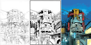 Judge Dredd cover #30 process