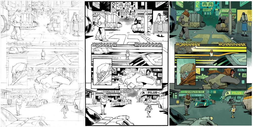 Judge Dredd #27 page 19 process by nelsondaniel