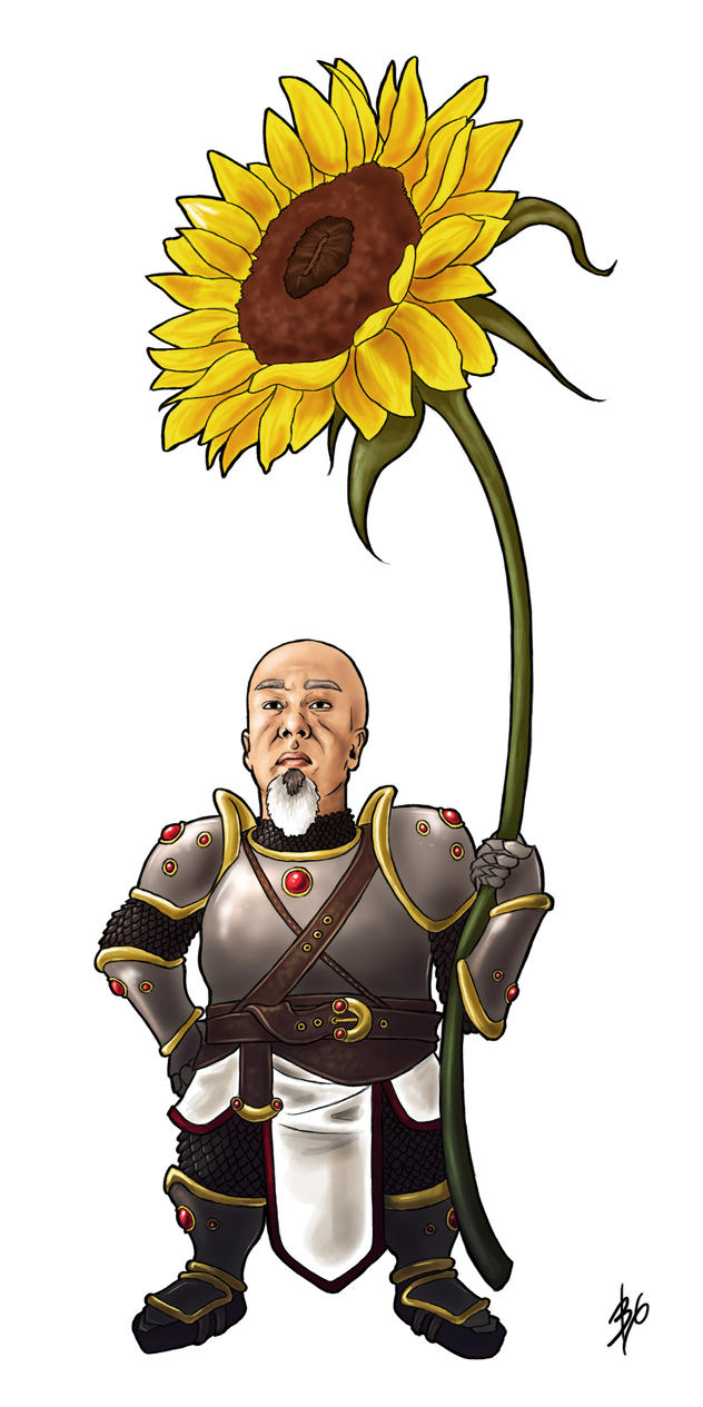 My Father as a Dwarf with a Sunflower by LilyThula