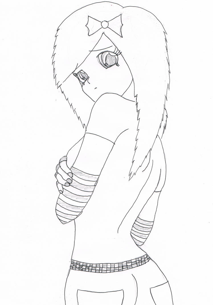 Anime emo girl by sannyvampire on deviantart for Emo coloring pages