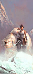 Korra and Naga by maxbat