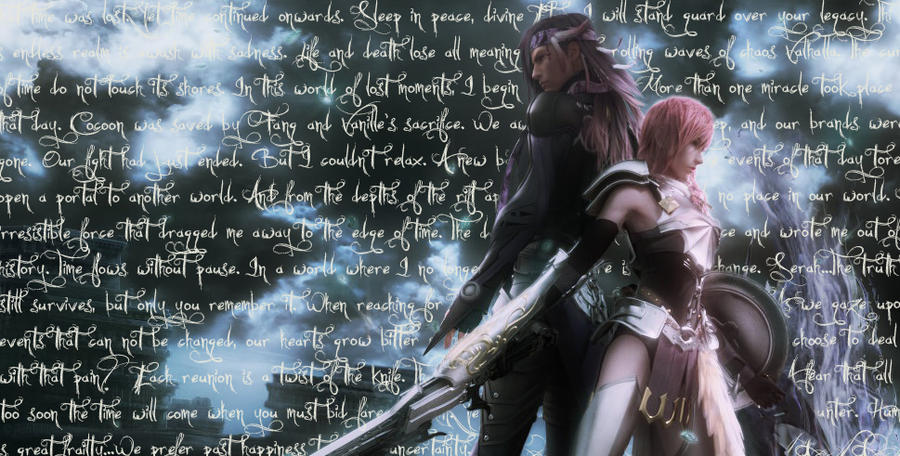 FFXIII-2 - Lightning and Caius (No Logo) by jkstrlphinaestrd1780