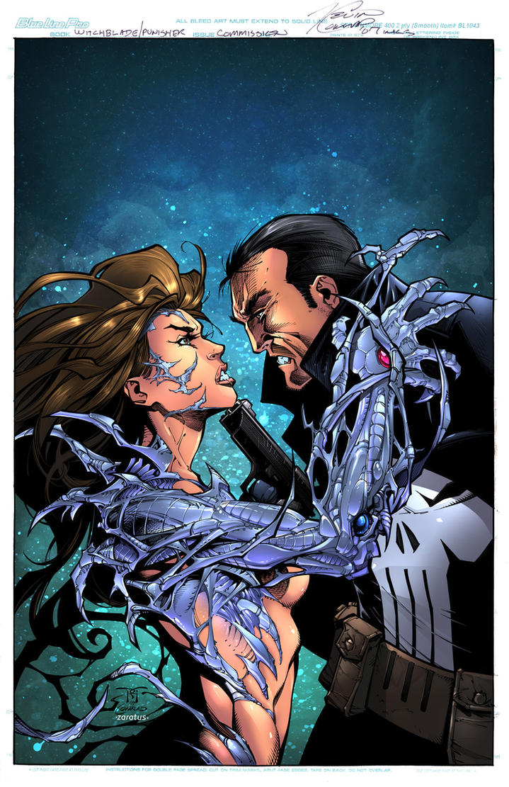 Witchblade and Punisher by zaratus