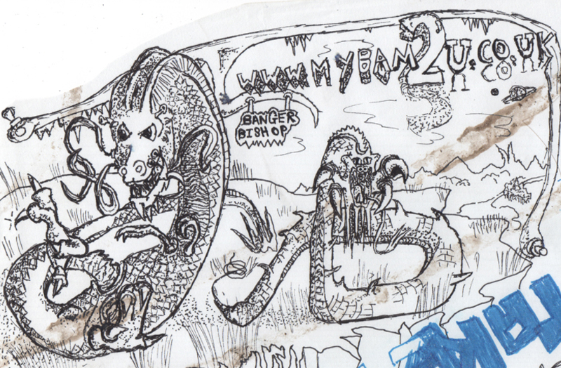 Pen and pencil dragon drawing