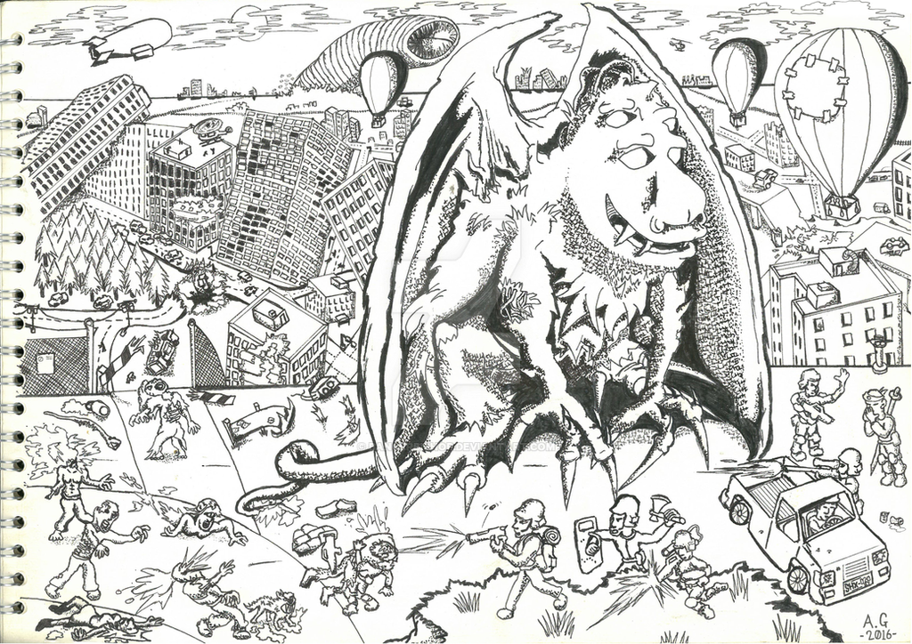 part 2 ink drawing 'Gargoyle Mutation' by bangerbishop