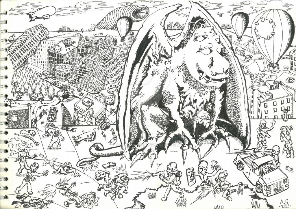 part 2 ink drawing 'Gargoyle Mutation' by bangerbishop