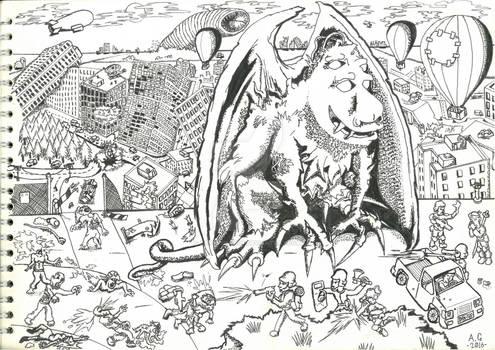 part 2 ink drawing 'Gargoyle Mutation'