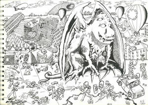 part 2 ink drawing 'Gargoyle Mutation'
