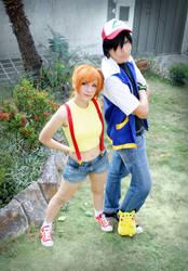 The pokemon team - Ash Misty and Pikachu
