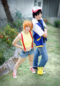 The pokemon team - Ash Misty and Pikachu