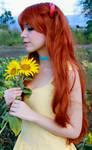 Asuka Yellow Sundress Cosplay - Sunflower Fields