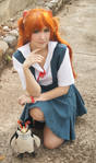 Asuka Langley School Uniform Cosplay - Evangelion