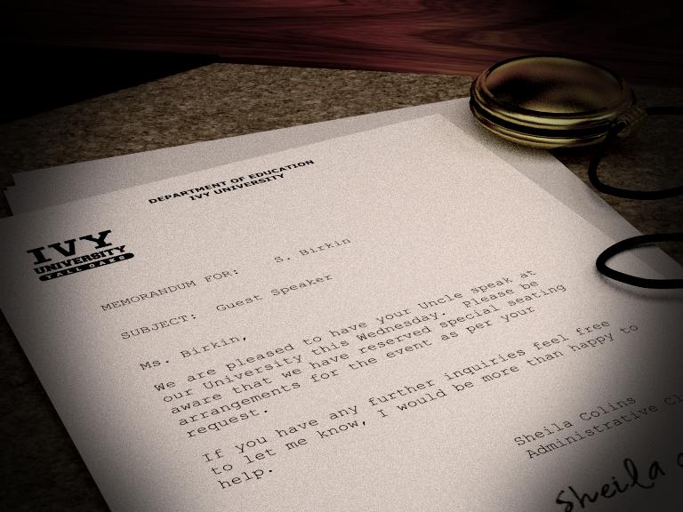 Letter to Sherry Birkin by LakotaAngel72