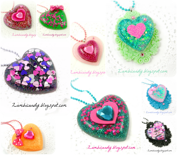 Resin hearts by zambicandy
