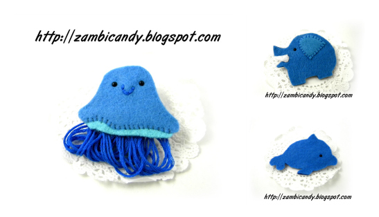 Felt brooches by zambicandy