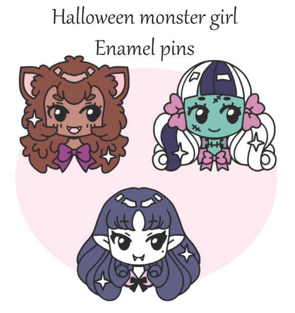 Halloween Monster girl enamel pin pre orders by zambicandy