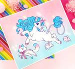 Ponies and Kitties Riso print