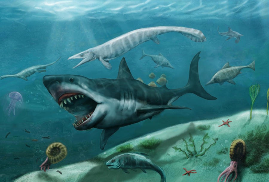 Sea Monsters Megalodon sea monster    by