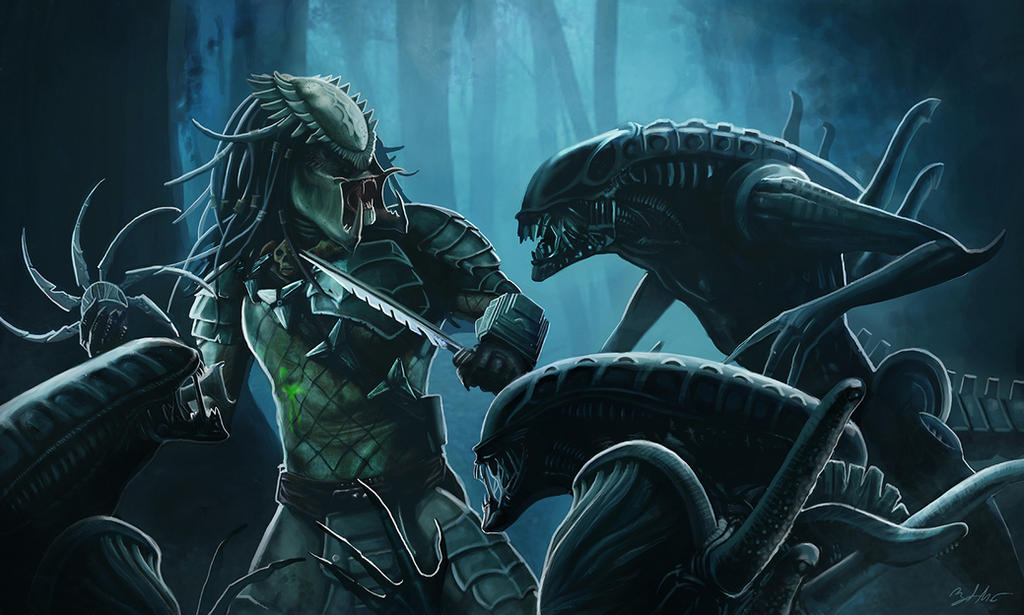 Aliens vs. Predator by MightyGodOfThunder