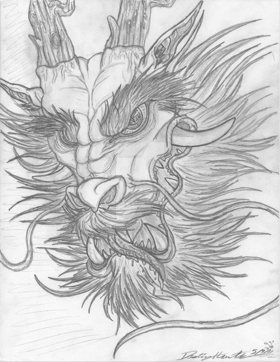 Chinese Lion Head Drawing