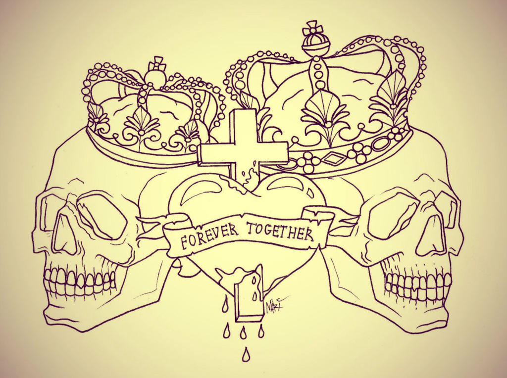 Forever together skull tattoo by marymarylp on deviantart for Together forever tattoos