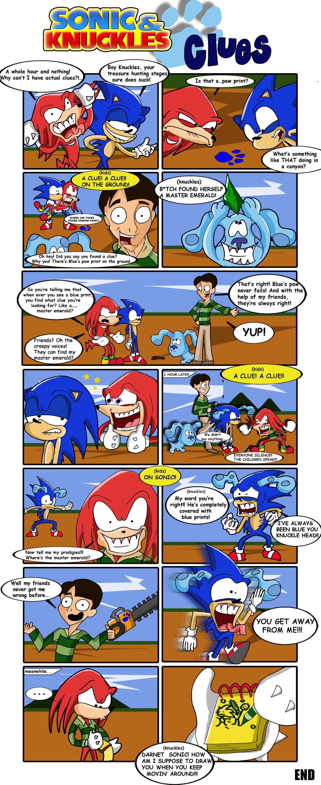 sonic and knuckles clues blues clues parody by xeternalflamebryx