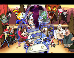 Regular Show and Gravity Falls by xeternalflamebryx