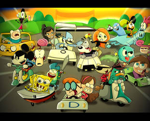 Nickelodeon vs Cartoon Network vs Disney Racing by xeternalflamebryx