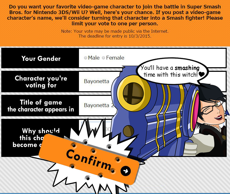 Super Smash Bros Ballot- Support Bayonetta! by xeternalflamebryx