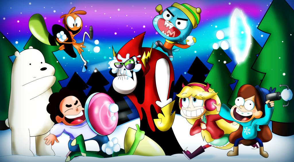 Gigantic Disney Deviantart: Cartoon Network And Disney Snowball Fight By