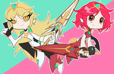Pyra and Mythra x Panty and Stocking