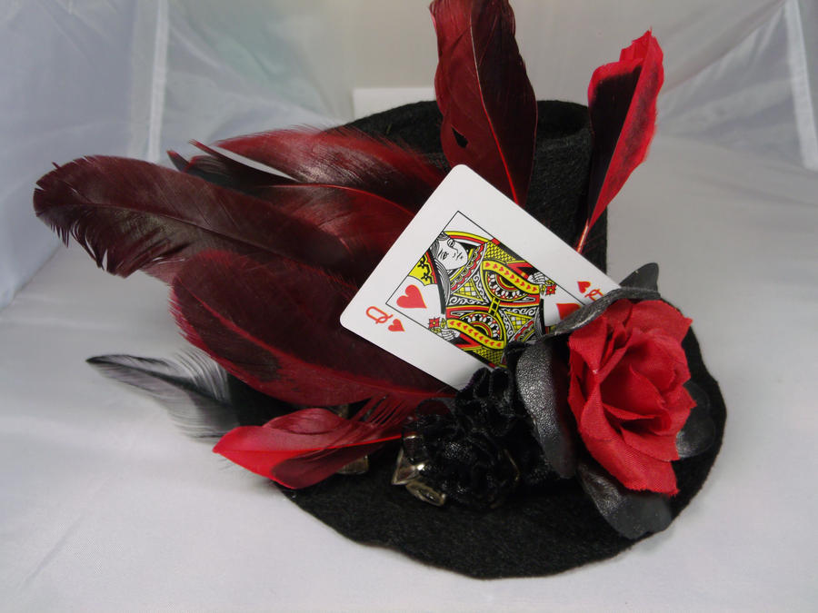 queen of hearts mini top hat fascinator by julianneriot on deviantart. Black Bedroom Furniture Sets. Home Design Ideas