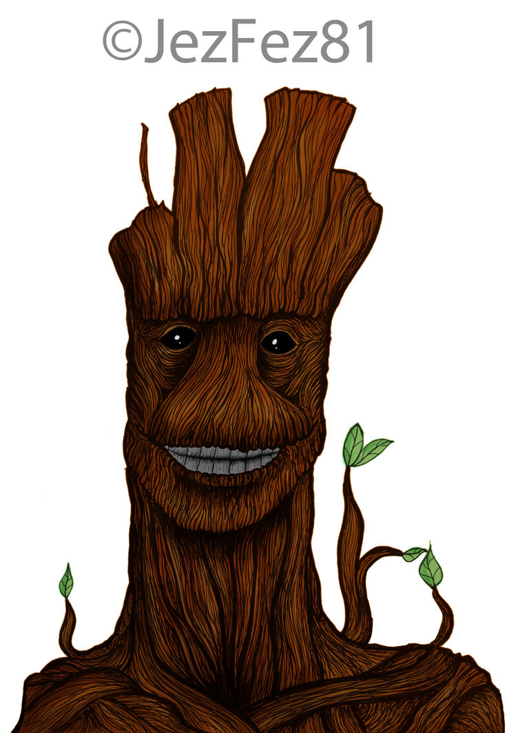 Smiling Groot Colour by Jezzy-Fezzy