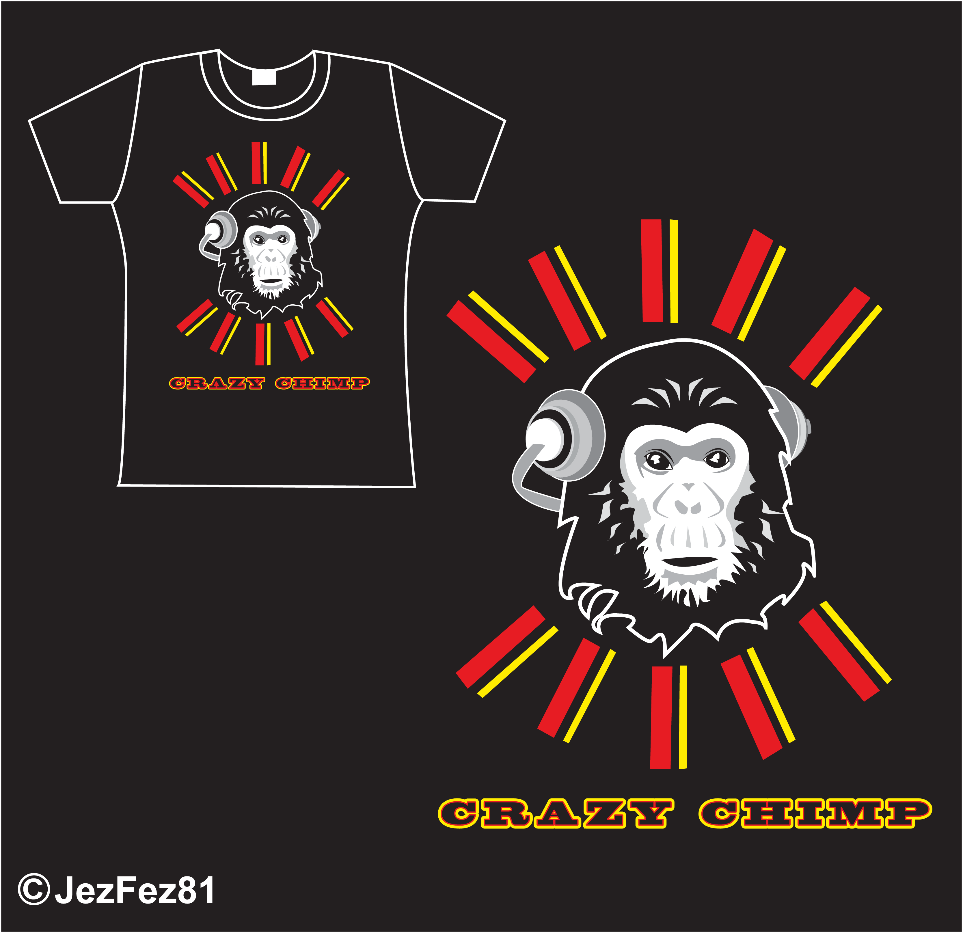 Crazy chimp t shirt designs 2 by jezzy fezzy on deviantart for Crazy t shirt designs