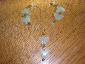 Jade Butterfly Golden Necklace by VincentsOnlyLover