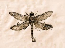 steampunk dragonfly key by agentcoleslaw