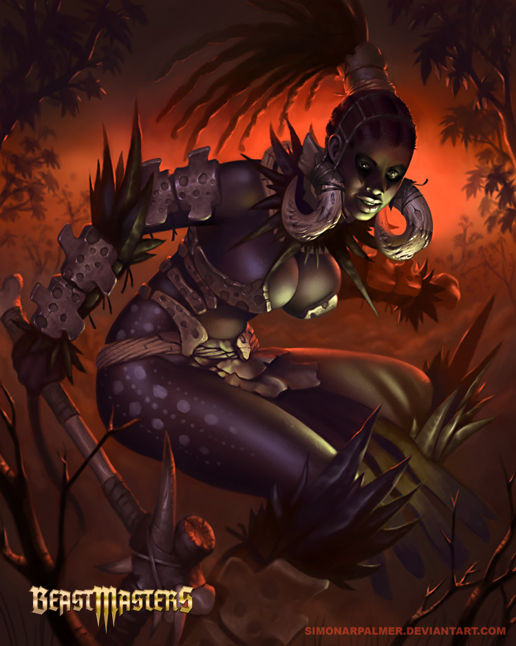 Hyena Huntress human form by SimonARPalmer